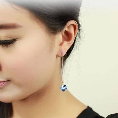 thread blue heart stone earring