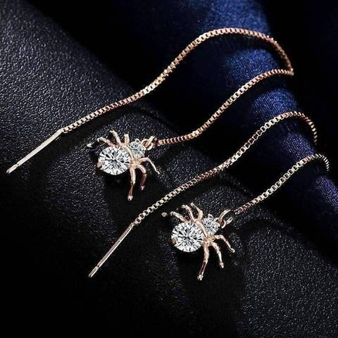 thread spider gemstone diamond bug insect earrings