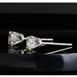 0.20CTW Genuine Diamond Stud Earrings 14K White Gold