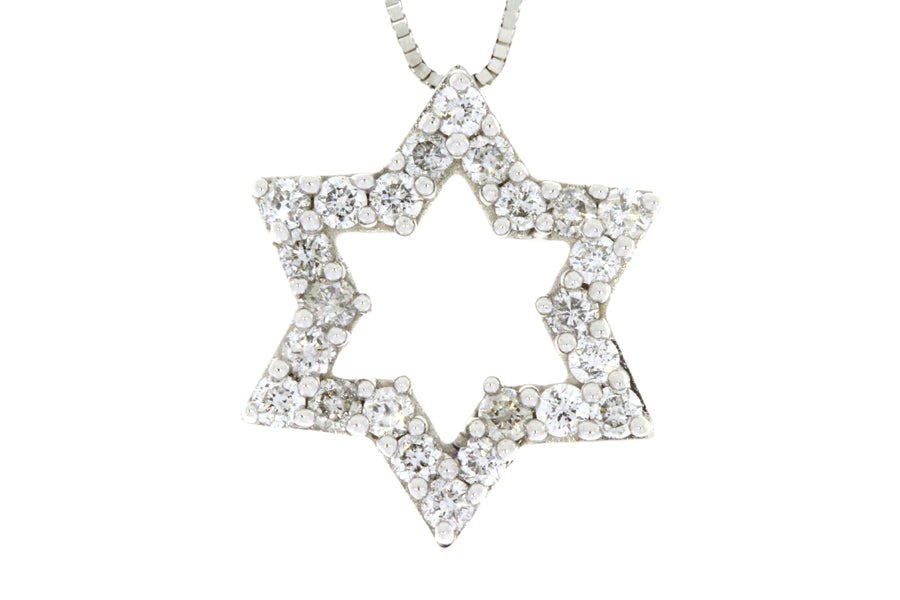 Genuine .38Ct Diamond Star of David Pendant Necklace 14KT White Gold For Woman