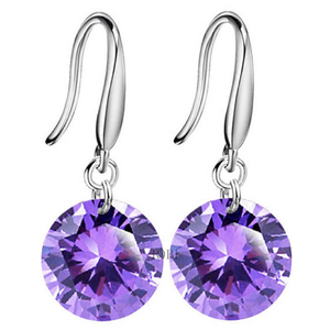 Exotic Amethyst Naked IOBI Crystals Silver Drill Earrings - 10mm for Woman