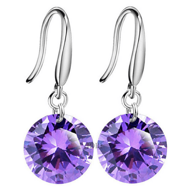 Feshionn IOBI Earrings Exotic Amethyst Exotic Amethyst Naked IOBI Crystals Drill Earrings - 10mm