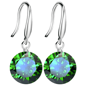 Exotic Emerald Naked IOBI Crystals Silver Drill Earrings - 10mm for Woman