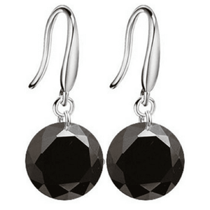 Exotic Obsidian Naked IOBI Crystals Silver Drill Earrings - 10mm for Woman