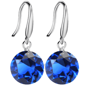 Exotic Sapphire Naked IOBI Crystals Silver Drill Earrings - 10mm for Woman