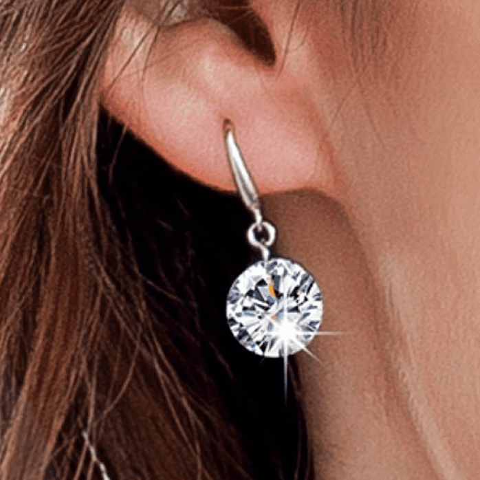 Exotic Ice Naked IOBI Crystals Silver Drill Earrings - 10mm for Woman