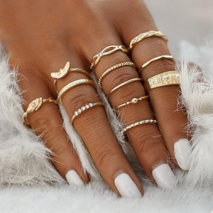 Phoenix Bands Midi-Knuckle Rings Set of 12 - Silver or Gold