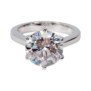 Victoria 4CT Round Cut IOBI Simulated Diamond Solitaire Sterling Silver Platinum Plated Ring For Woman
