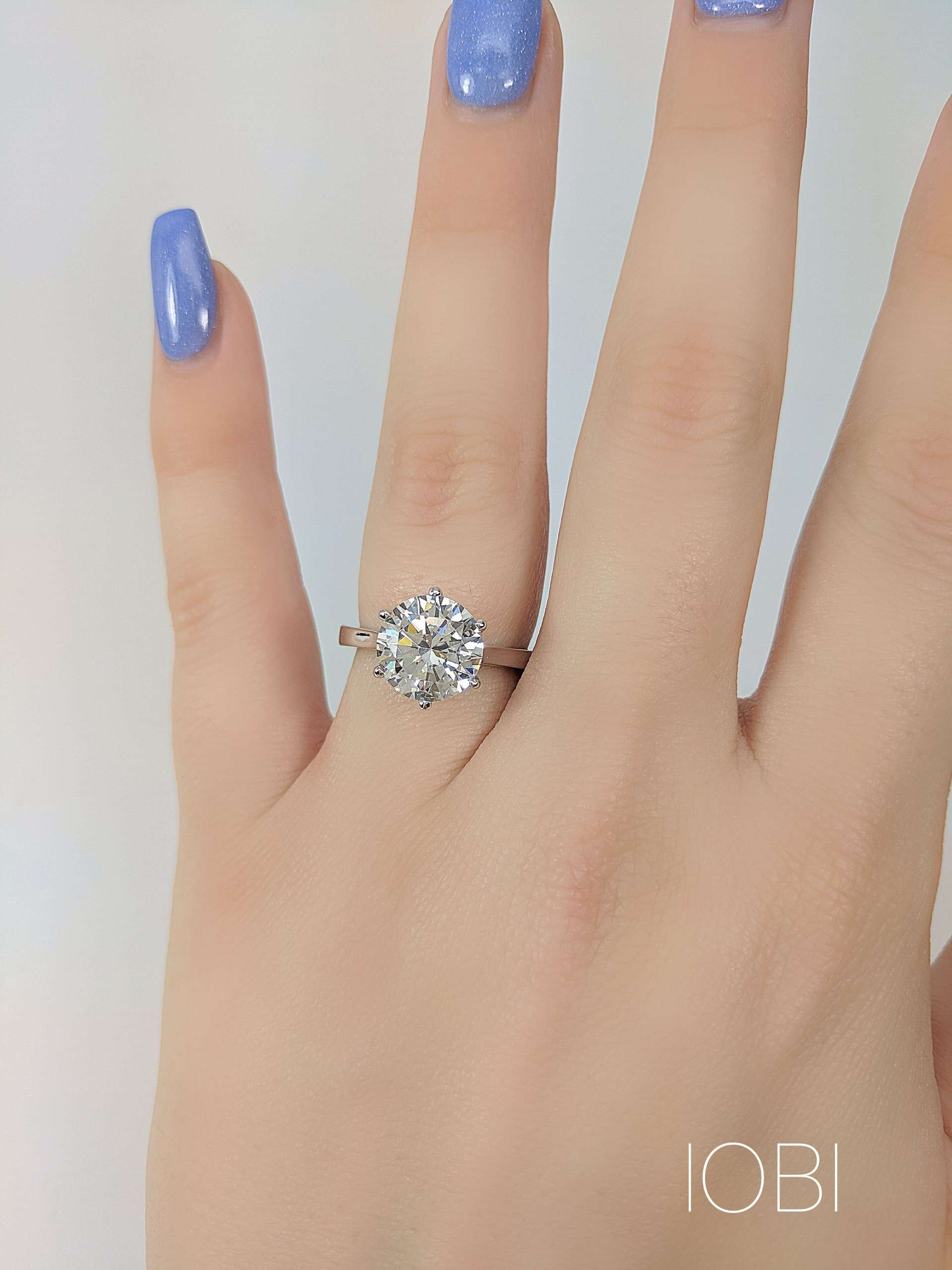 405d02329 ON SALE - Victoria 14K White Gold 4CT Round Cut IOBI Simulated Diamond  Solitaire Ring