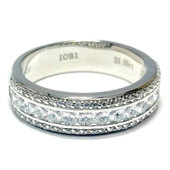 Adalyne 1CTW Channel Set Princess and Pavé Band IOBI Cultured Diamond Ring