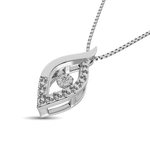 Dancing Diamond Eye Design Pendant Necklace For woman In Sterling Silver