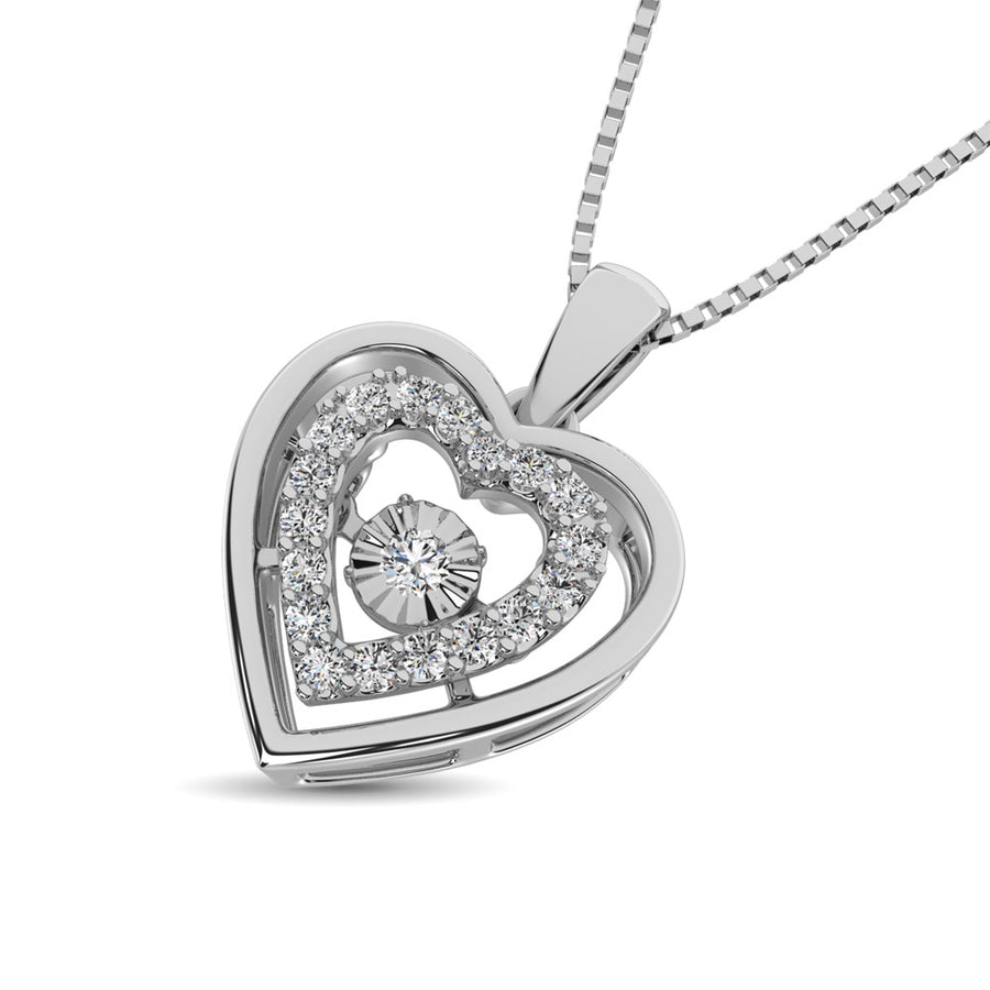 Dancing Diamond 1/8 Ct.Tw. Hearty Love Pendant Necklace For Woman In Sterling Silver