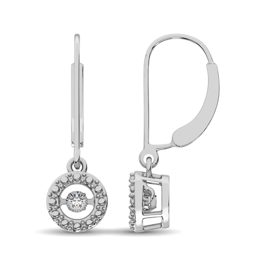 Dancing Diamond 1/20 Ct.Tw.  Dangling Round Halo Earrings For Woman In Sterling Silver