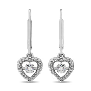 Dancing Diamond Delicate Heart Love 1/20 Ct.Tw. Dangling Earrings For Woman In Sterling Silver