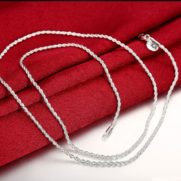2mm Diamond Cut Silver Rope Chain 16-24 inches