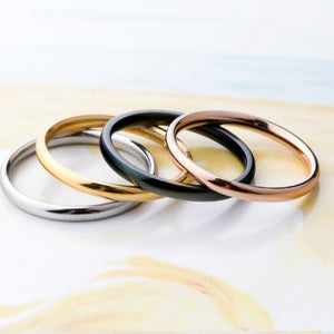 Versatile 2mm Titanium Band Ring in Four Colors