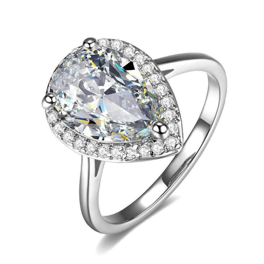 Fiona 4CT Pear Cut Halo IOBI Cultured Diamond Ring