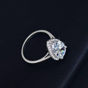 Fiona 4CT Pear Cut Halo IOBI Simulated Diamond Ring