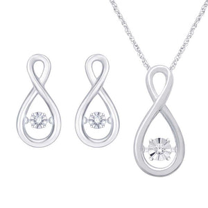 Dancing Diamond Infinite Love Pendant Necklace & Earrings Set For Woman In Sterling Silver