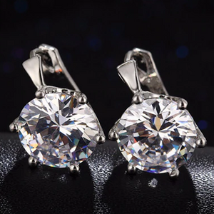 ON SALE - Daring Six Prong 6.8 Carat Zirconia Solitaire Earrings