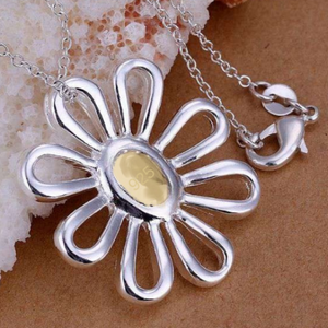 ON SALE - Flower-Power Daisy Two-Tone Sterling Silver Necklace and Earrings Set