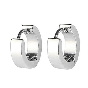 13mm Polished Stainless Steel Huggie Hoop Earrings - For Men or Women
