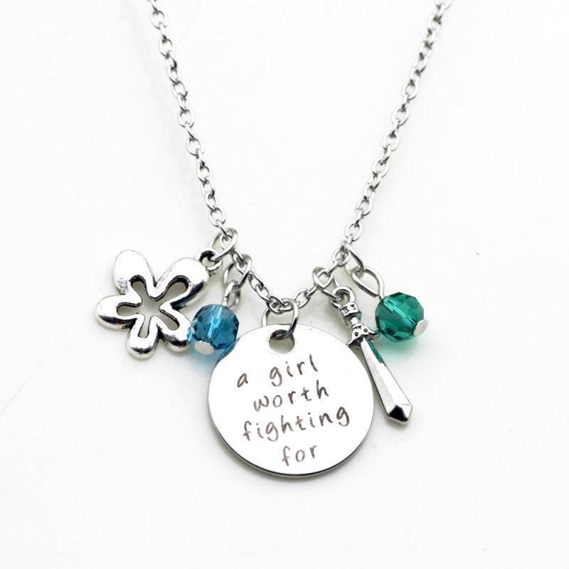 A Girl Worth Fighting For Stamped Sentiment Necklace Feshionn Iobi