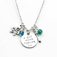 """A Girl Worth Fighting For"" Stamped Sentiment Necklace"