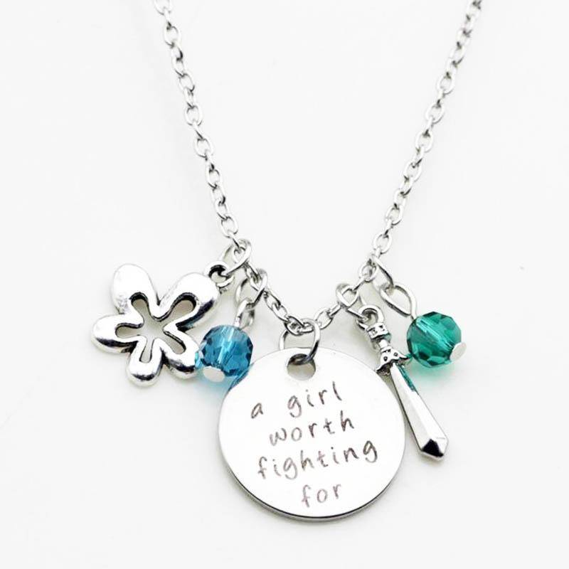 A Girl Worth Fighting For - Stamped Sentiment Necklace