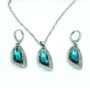 Abstract Aqua Austrian Crystal Necklace & Earrings Set