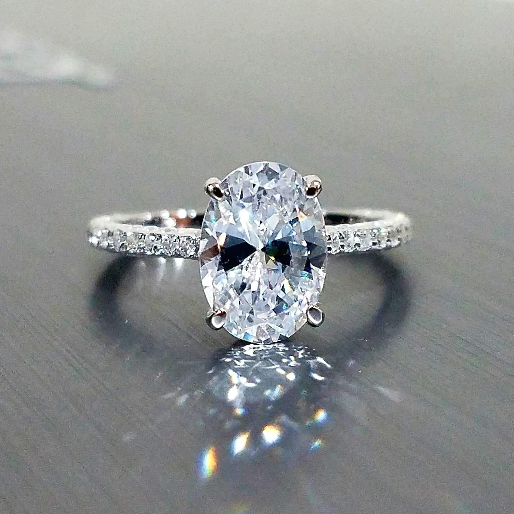 Wedding Ring On Sale.On Sale Alexandra 2ct Oval Petite French Pave Crown Iobi Simulated Diamond Ring