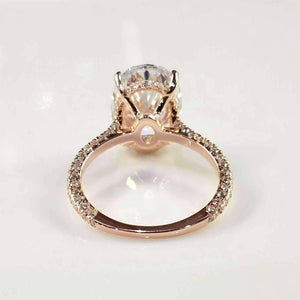 ON SALE - Alexandra LaRosa 5CT Oval Petite French Pavé Crown Rose Gold IOBI Cultured Diamond Ring