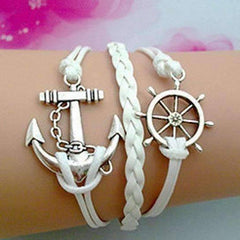 ON SALE - Anchors Away Handmade Leather Friendship Bracelet