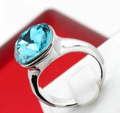 ON SALE - Absolutely Aqua Austrian Crystal Cocktail Ring