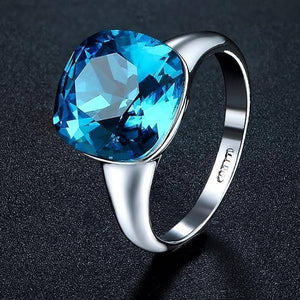 Absolutely Aqua Austrian Crystal Cocktail Ring