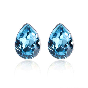 14K White Gold Plated Fairy Drops IOBI Crystals Stud Earrings for Woman