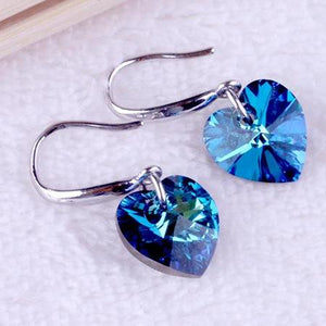 14K White Gold Plated Aqua Blue Austrian Crystal Heart Drill Earrings for Women