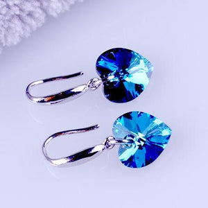 ON SALE - Aqua Blue Austrian Crystal Heart Drill Earrings