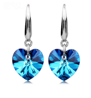 Aqua Blue Austrian Crystal Heart Drill Earrings