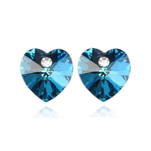 Aquamarine Austrian Crystal Heart Stud Earrings For Woman