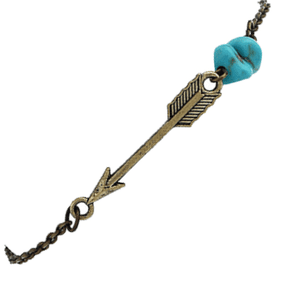 Turquoise Accented Bronze Arrow Bracelet