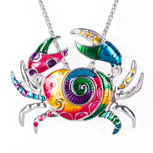 Artsy Crab Enamel Pendant Necklace