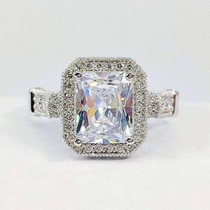 ON SALE - Aurelia 3CT Emerald Cut Halo IOBI Simulated Diamond Ring