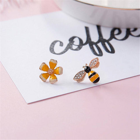 Bees & Blossoms Asymmetrical Earrings