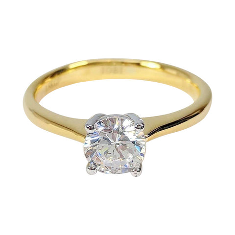 Bella D'ora 1CT Round Cut IOBI Cultured Diamond Solitaire Ring