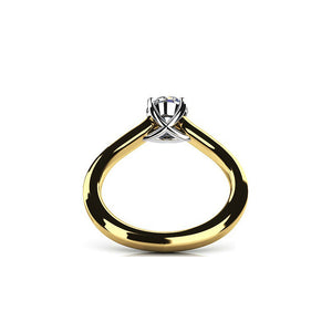 Bella D'ora 1CT Round Cut IOBI Simulated Diamond Solitaire 18K Gold plating over Sterling Silver Ring
