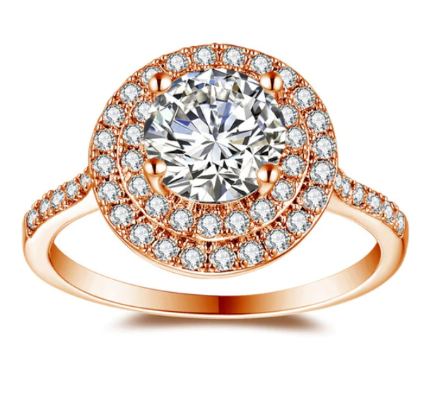 Bella Luce 1.2CT Round Zirconia Double Halo Ring
