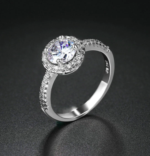 Bella Luna Round Halo 2 CT Austrian Crystal Ring