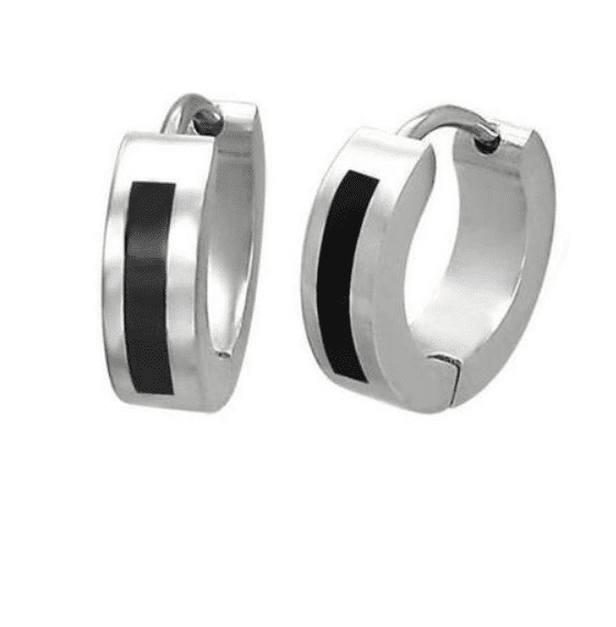 Thin Black Symbols Huggie Hoop Stainless Steel Earrings - Eight Designs