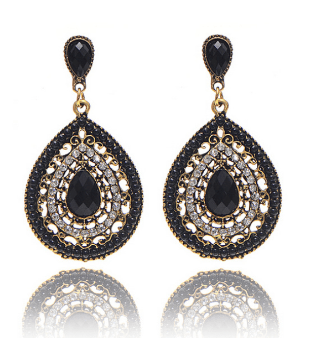 CLEARANCE - Bead and Crystal Filigree Drop Earrings